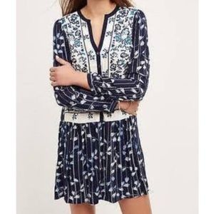 Anthropologie Navy Embroidered Dress